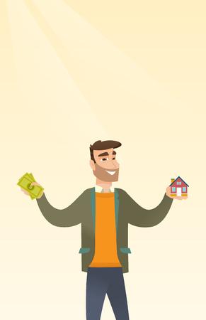 Cartoon illustration of Caucasian man buying a house thru financial loan.