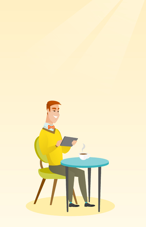 wireless connection: Man surfing in the social network in the cafe. Illustration