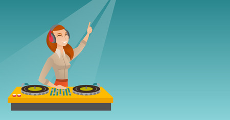 Young female DJ mixing music on the turntables. DJ playing and mixing music on the deck. Caucasian DJ in headphones mixing music at a party. Vector flat design illustration. Horizontal layout.