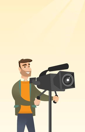 reportage: Hipster cameraman with beard looking through a movie camera on a tripod. Caucasian man with a professional video camera. Cameraman taking a video. Vector flat design illustration. Vertical layout. Illustration