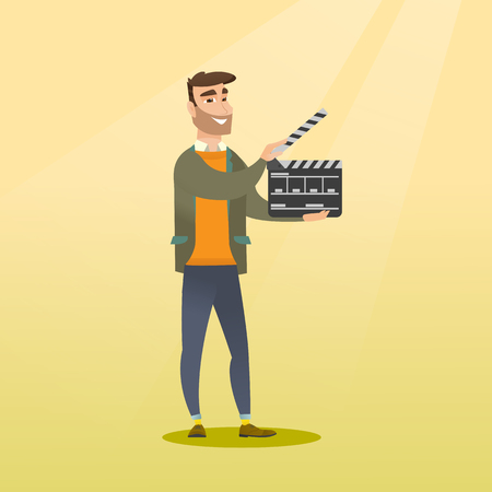 Happy caucasian man holding camera slate for the filming. Smiling hipster man holding open clapperboard. Cheerful man holding blank movie clapperboard. Vector flat design illustration. Square layout. Illustration