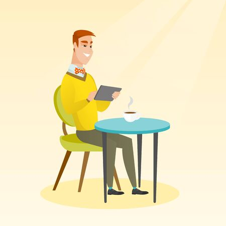 Man using a tablet computer in the cafe. Man surfing in the social network. Man rewriting in the social network in the cafe. Social network concept. Vector flat design illustration. Square layout.