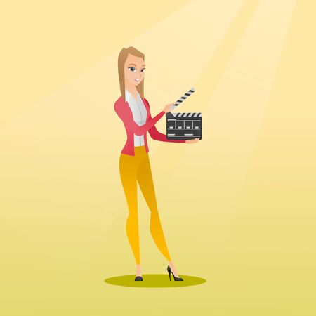 Happy caucasian woman holding camera slate for the filming. Smiling woman holding an open clapperboard. Cheerful woman holding blank movie clapperboard. Vector flat design illustration. Square layout.