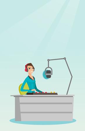 earbud: Female dj working on the radio vector illustration
