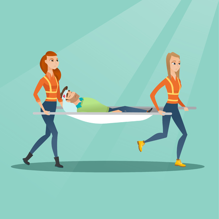 Emergency doctors carrying man on stretcher. Illustration