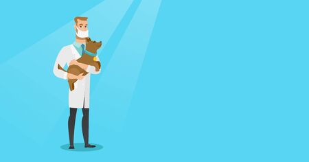 Veterinarian with dog in hands vector illustration