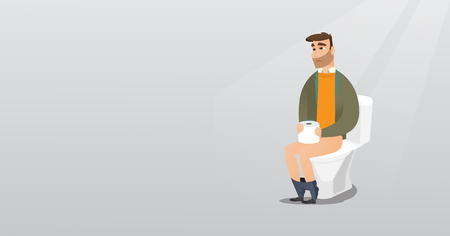Man suffering from diarrhea or constipation.