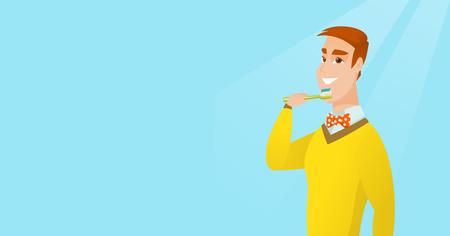 pasta de dientes: Hombre cepillarse los dientes ilustración vectorial.