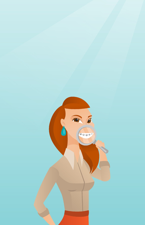 Woman examining her teeth with a magnifier. Illustration
