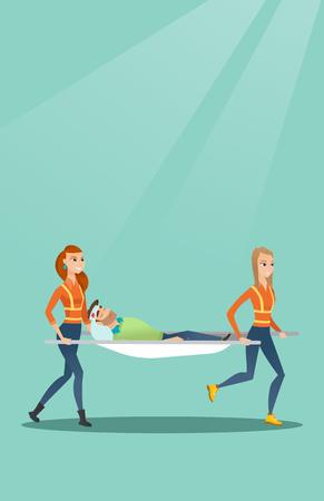 Emergency doctors carrying man on stretcher. Illustration