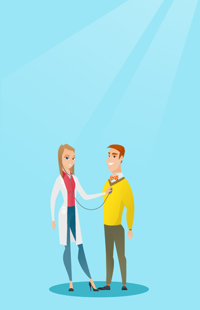 Young caucasian doctor listening to the chest of a patient with a stethoscope Patient visiting a doctor Doctor examining chest of a female patient; Vector flat design illustration Vertical layout. Illustration