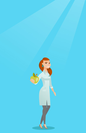 Young caucasian nutritionist prescribing diet and healthy eating, Smiling confident nutritionist holding an apple, Nutritionist offering fresh apple; Vector flat design illustration Vertical layout. Illustration