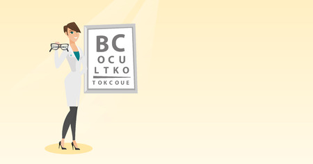 Caucasian ophthalmologist doctor giving glasses, holding eyeglasses on the background of eye chart, offering glasses; Vector flat design illustration Horizontal layout