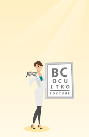 Caucasian ophthalmologist doctor giving glasses, holding eyeglasses on the background of eye chart, offering glasses; Vector flat design illustration Vertical layout.
