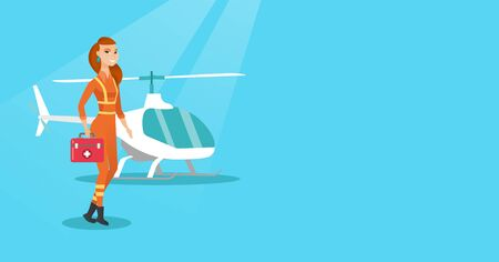 Caucasian doctor of air ambulance Doctor of air ambulance standing in front of rescue helicopter, holding first aid box; Vector flat design illustration Horizontal layout.