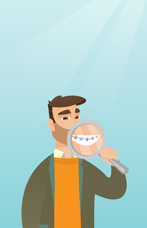 Man examining his teeth with a magnifier. Illustration