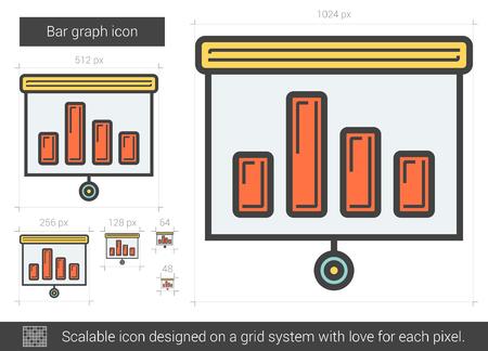 scalable: Bar graph line icon.