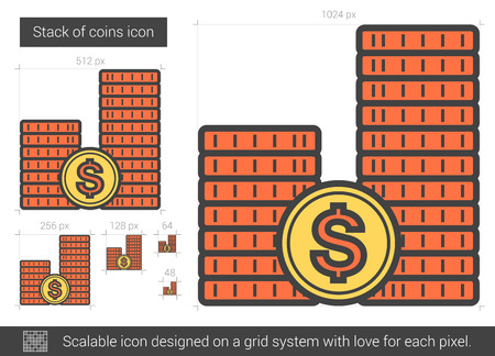 dime: Stack of coins line icon.