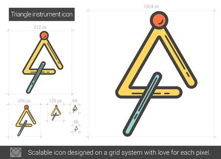 Triangle instrument line icon. Illustration