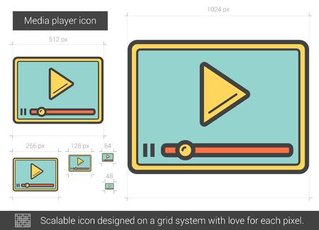 Media player line icon. Illustration