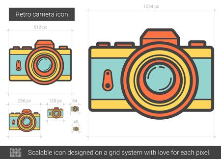 Retro camera line icon.