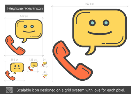 receiver: Telephone receiver line icon.