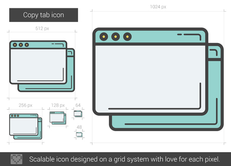 copy: Copy tab line icon.