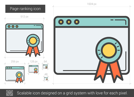 Page ranking line icon. Ilustrace