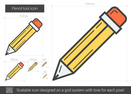 Pencil tool line icon.