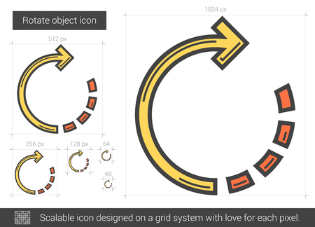 Rotate object line icon.