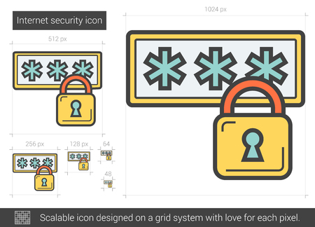 private access: Internet security line icon. Illustration