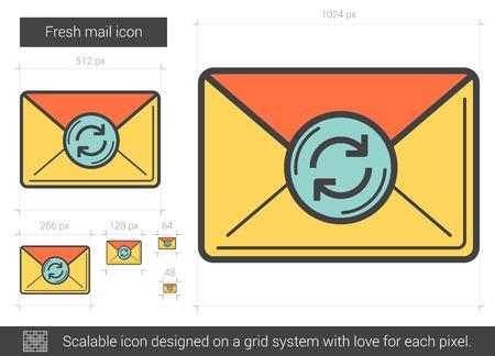 Fresh mail line icon. Illustration