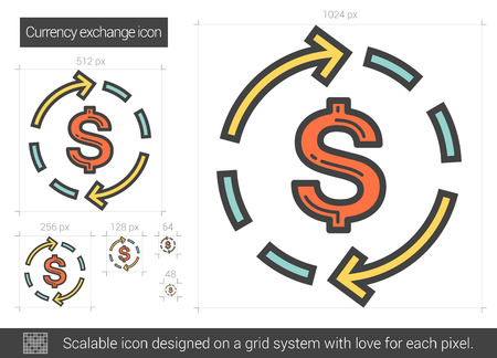 Currency exchange line icon.