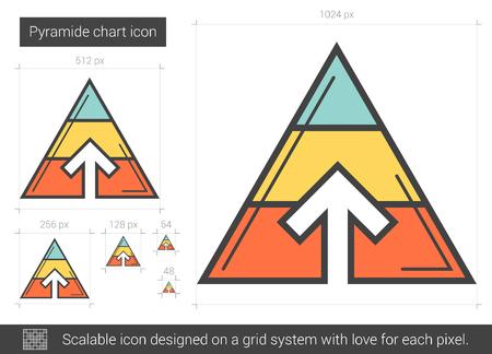Pyramid chart line icon. Illustration