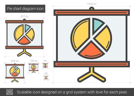 Pie chart diagram line icon. Illustration