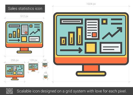 mobile website: Sales statistics line icon.