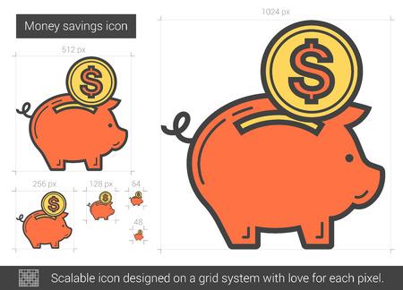savings account: Money savings line icon.