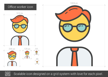 laborer: Office worker line icon.