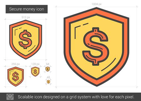 Secure money line icon.