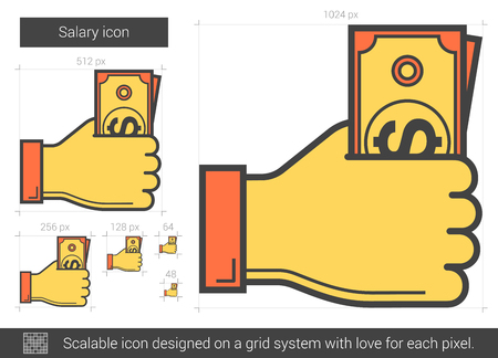 give: Salary line icon.