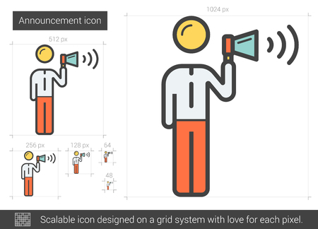 announce: Announcement vector line icon isolated on white background. Announcement line icon for infographic, website or app. Scalable icon designed on a grid system. Illustration