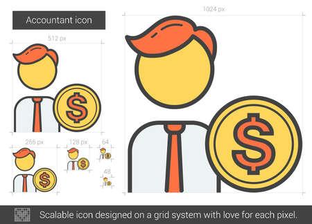 Accountant line icon. Illustration