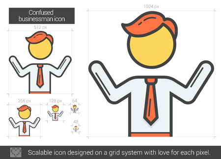 businessperson: Confused businessman line icon.
