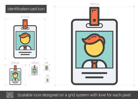 Icono de línea de la tarjeta de identificación. Ilustración de vector