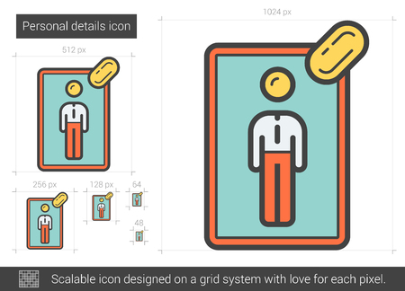 details: Personal details line icon.