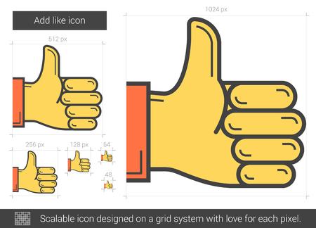 confirm: Add like line icon. Illustration