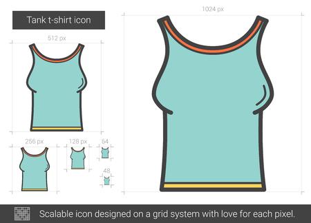 stretchy: Tank t-shirt line icon.
