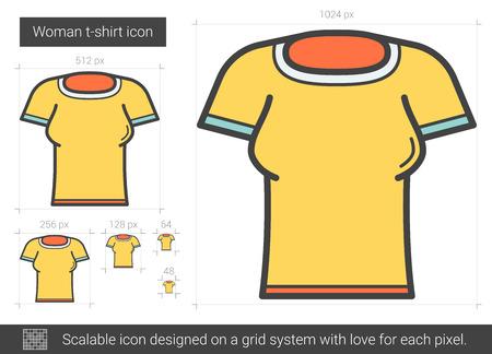 tight body: Woman t-shirt line icon.