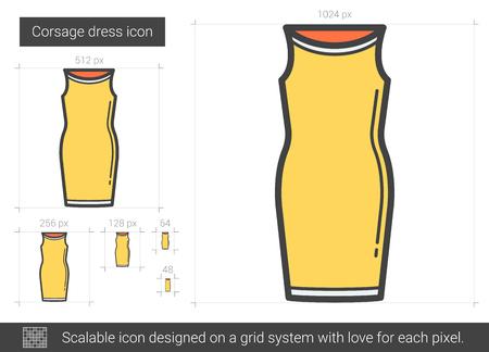 Corsage dress line icon.