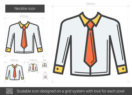 Necktie vector line icon isolated on white background. Necktie line icon for infographic, website or app. Scalable icon designed on a grid system. Illustration
